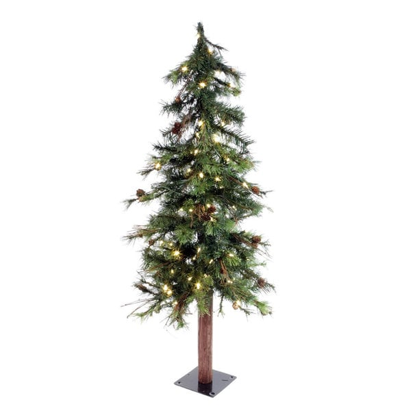 "4' x 26"" Mix Country Pine tree Tree with 100 Warm White Italian LED Lights"