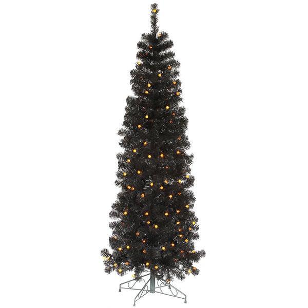 "4.5' x 20"" Black Pencil Tree with 100 Orange LED Lights"