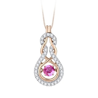 10K Pink Gold 1/8ct TDW Dancing Pink Sapphire and White Diamond Fashion Pendant (G-H,I2-I3)