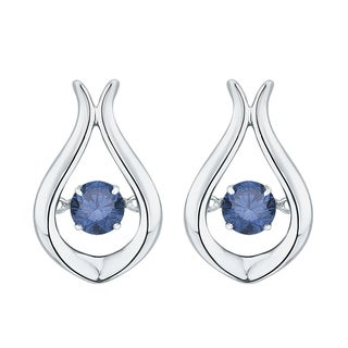 10K White Gold 1/3ct TDW Blue Dancing Diamond Fashion Earrings (Blue,I1)