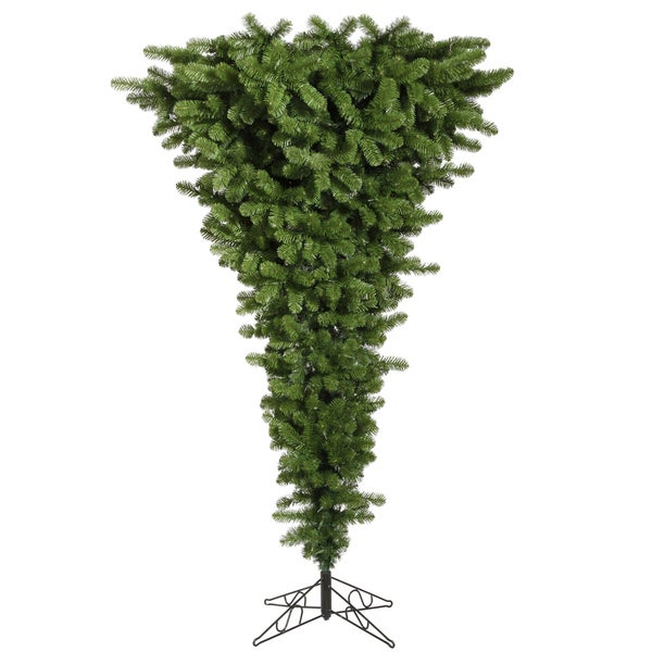 "5.5' x 38"" Green Upside Down Tree with 250 Multi-Colored Dura-Lit Lights"