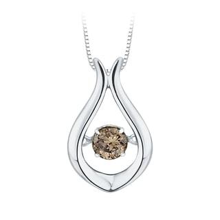 10K White Gold 1/4ct TDW Brown Dancing Diamond Fashion Pendant (Brown,I1)