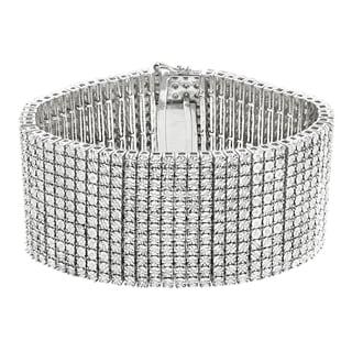 Luxurman Sterling Silver Men's 2 1/6ct TDW Diamond Cuff Bracelet (H-I, I1-I2)