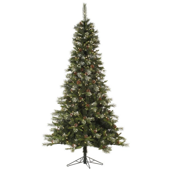 "4.5' x 28"" Iced Sonoma Spruce Tree with 200 Warm White LED Lights"