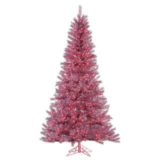 """6.5' x 42"""" Orchid Pink Tinsel Tree with 450 Pink Mini Lights"""