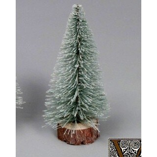 """10"""" Flocked Village Tree with Wooden Base"""