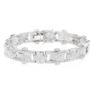Luxurman 10k White Gold Men's 3 3/5ct TDW DIAMOND BRACELET (H-I, SI1-SI2)