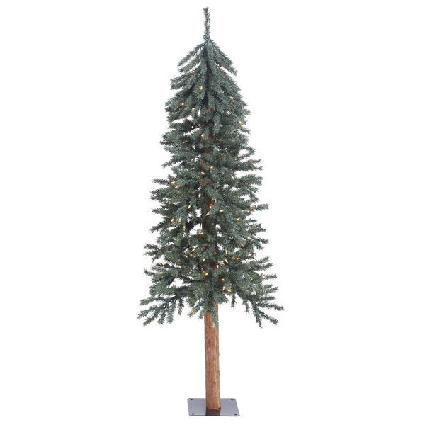 "5' x 25"" Natural Bark Alpine Tree with 150 Clear Lights"