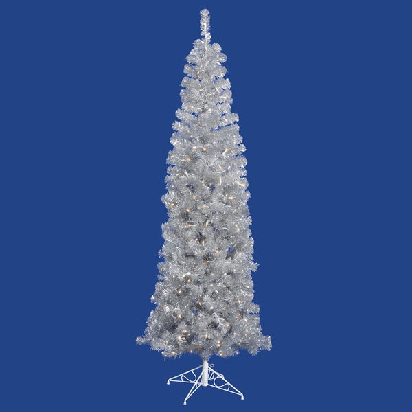 "10' x 46"" Silver Pencil Tree with 650 Clear Mini Lights and 1652 PVC Tips"