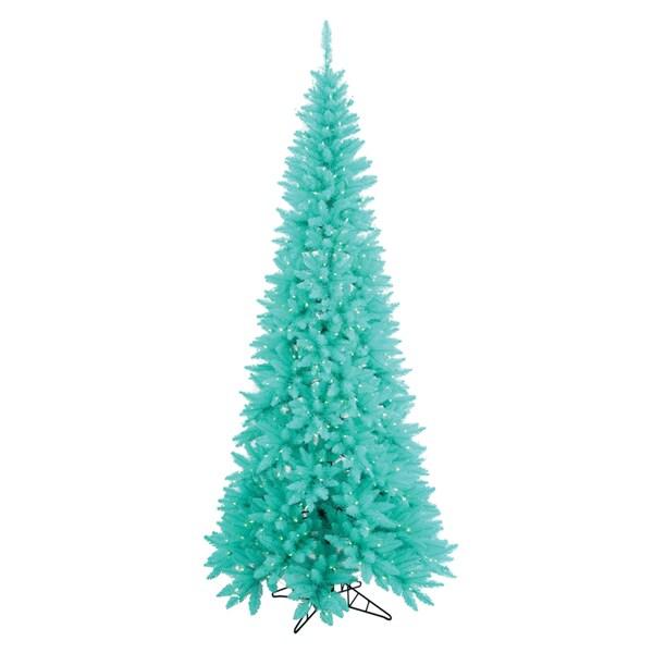 "5.5' x 30"" Aqua Slim Fir tree with 722 PVC tips and 300 aqua mini lights"