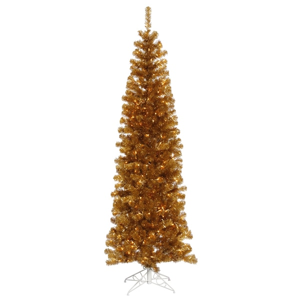 "6.5' x 27"" Antique Gold Pencil Tree with 300 Clear Mini Lights and 587 PVC Tips"