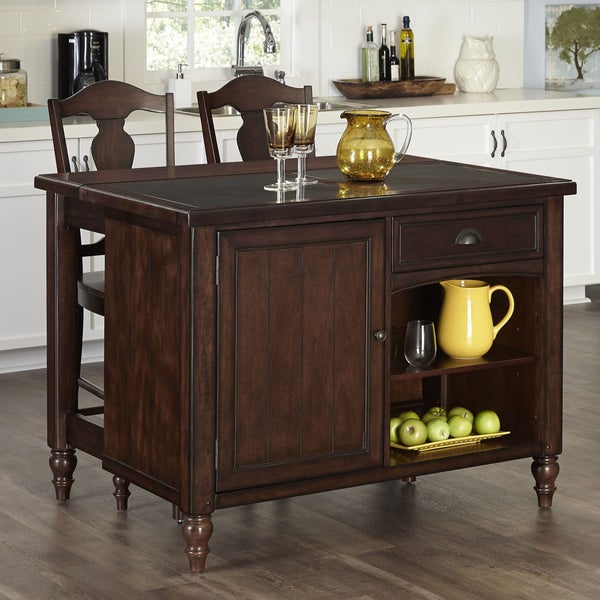 Country Comfort Kitchen Island and Two Stools