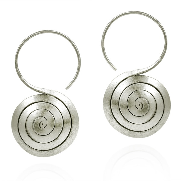 Spiral Rolled Hook Hoop Hill Tribe Silver Earrings (Thailand)
