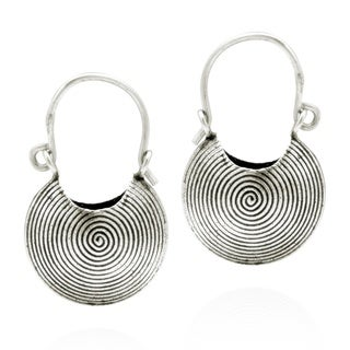 Hilltribe Handmade Spiral Basket Hoop Lock Silver Earrings (Thailand)