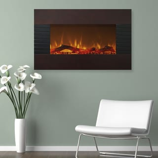 Northwest 36 inch Mahogany Fireplace with Wall Mount & Floor Stand