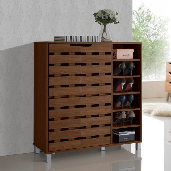 Shirley Modern and Contemporary Dark Brown Wood 2-Door Shoe Cabinet with Open Shelves