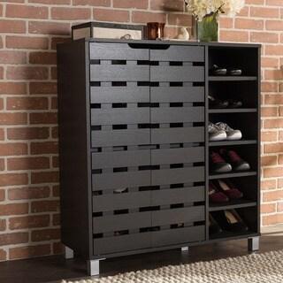 Baxton Studio Shirley Contemporary Dark Brown Wood 2-door Shoe Cabinet with Open Shelves