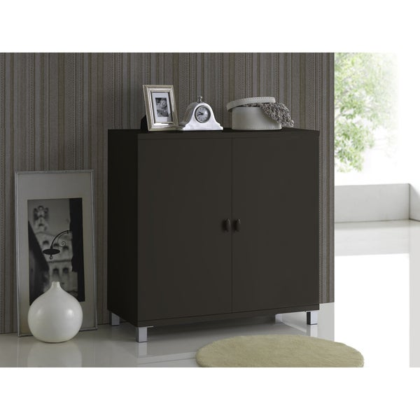 Marcy Modern and Contemporary Dark Brown Wood Entryway Handbags or School Bags Storage Sideboard Cabinet