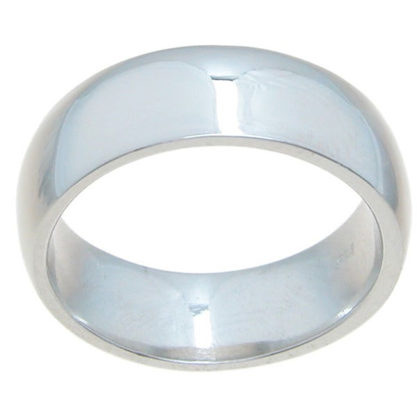 Sterling Silver High Polish 7mm Plain Dome Style Wedding Band