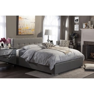 Regata Modern and Contemporary Grey Fabric Upholstered Platform Bed