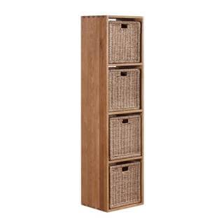 Vancouver Solid Oak Cube with Four (4) Jute Baskets