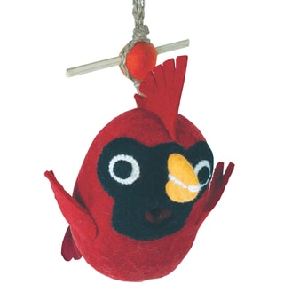 Global Crafts Wild Woolies Baby Cardinal Felt Birdhouse (Nepal)