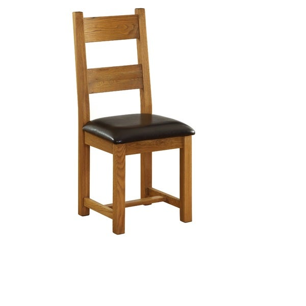 Vancouver Dining Chair with Dark Brown Leather Seat (Set of 2)