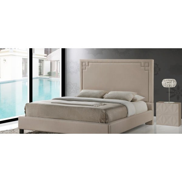 Heidi Modern and Contemporary Beige Linen Upholstered Platform Bed