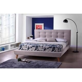 Baxton Studio Jonesy Scandinavian Style Mid-century Beige Linen Fabric Upholstered Platform Bed