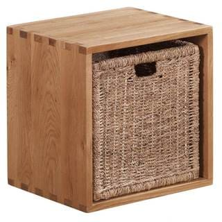 Vancouver Solid Oak Cube with Jute Basket