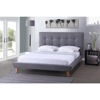 Jonesy Scandinavian Style Mid-century Grey Linen Fabric Upholstered Platform Bed