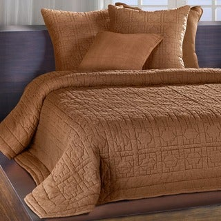 Riviera Cognac Embroidered Cotton Quilt