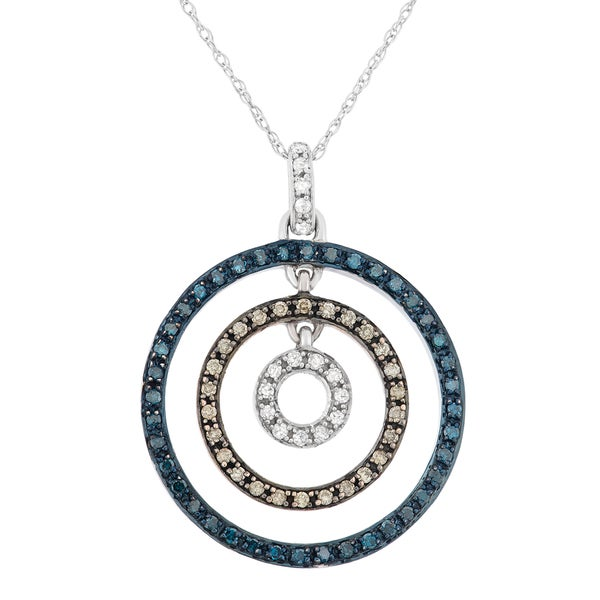 10k White and Rose Gold 2/5ct TDW Diamond Concentric Circle Pendant Necklace (H-I, Brown, Blue, I1-I2)