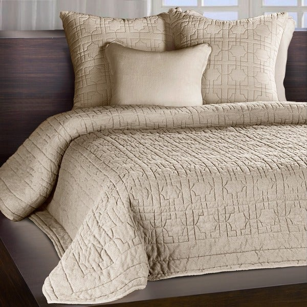 Riviera Sand Beige Embroidered Cotton Quilt