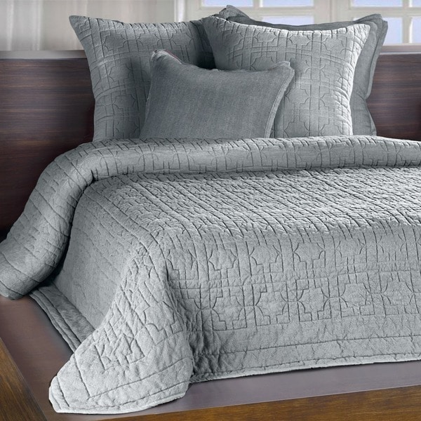 Riviera Mist Grey Embroidered Cotton Quilt