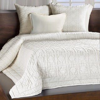 Riviera Ivory Embroidered Cotton Quilt