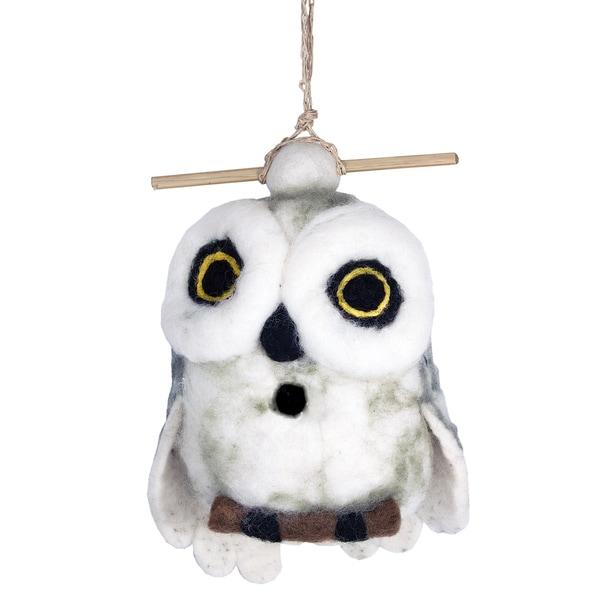 Wild Woolies Felt Birdhouse - Snowy Owl (Nepal)