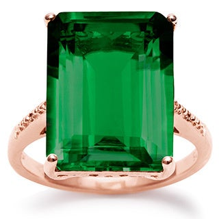 11 Carat Emerald Shape Green Amethyst and Diamond Ring In 14K Rose Gold Over Sterling Silver