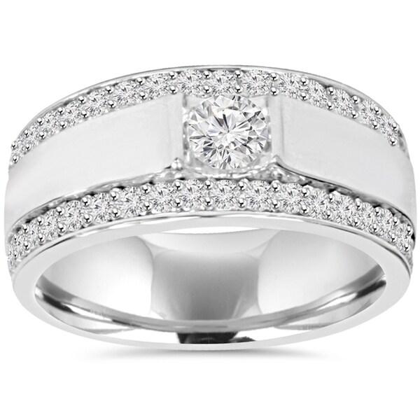 10K White Gold 1 7/8 TDW Diamond Double Row Mens Ring (H-I, I1-I2)