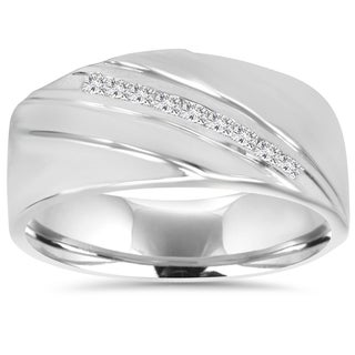 10K White Gold 1/6 TDW Mens Diamond Ring (I-J,I2-I3)