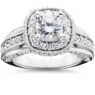 14k White Gold 1 1/4ct TDW Cushion Halo Round Diamond Engagement Ring (H-I,I1-I2)