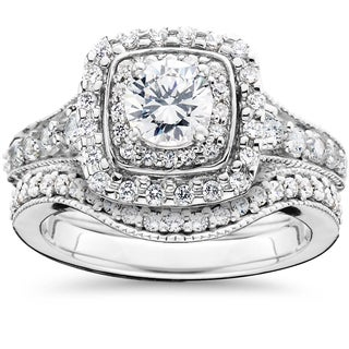 14k White Gold 1 5/ 8ct TDW Double Halo Vintage Engagement Wedding Ring Set (I-J,I2-I3)