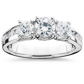 14k White Gold 2 ct TDW Diamond Three Stone Ring (I-J,I2-I3)