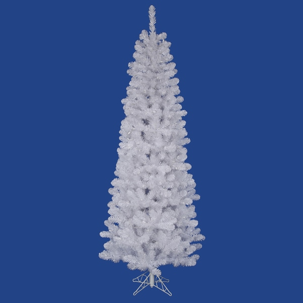 "4.5' x 24"" White Salem Pencil Pine Tree with 217 PVC Tips"