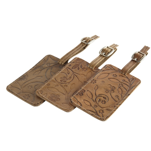 Set of 3 Handcrafted Embossed Leather Luggage Tags (India)