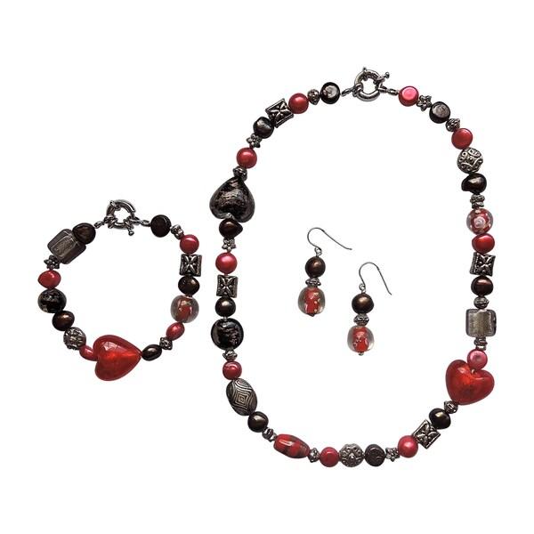3-piece Fancy Red Heart Pearl/ Glass Jewelry Set 16325327