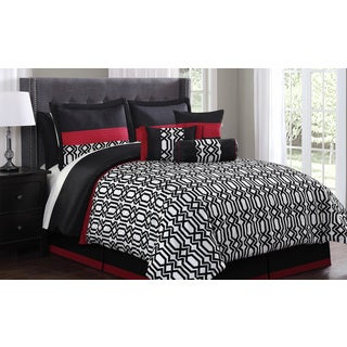 Anton 11-piece Flocking Comforter Set Bed in a Bag