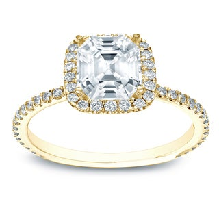 Auriya 14k Gold 1 1/2ct TDW Certified Assher-Cut Diamond Halo Engagement Ring (E-VVS2)