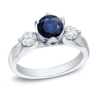 Auriya 14k White Gold 1ct Blue Sapphire and 4/5ct TDW Round Cut Diamond 3-Stone Ring (H-I, SI1-SI2)