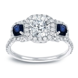 Auriya 14k White Gold 3/5CT Blue Sapphire and 1 1/2ct TDW Cushion-Cut Diamond Ring (H-I, VS1-VS2)